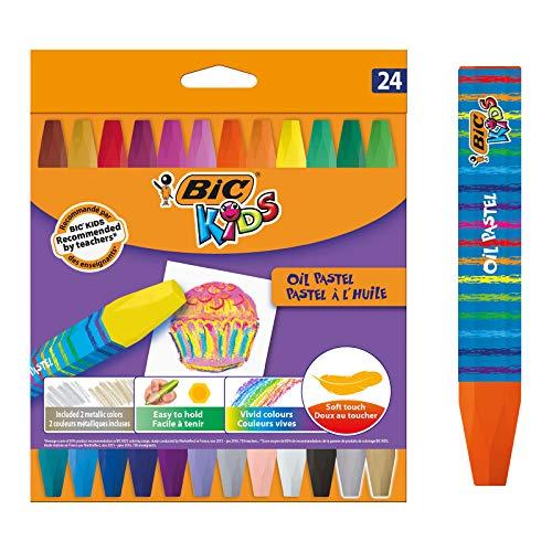 BIC Kids 926447 Ölmalkreide Oil Pastels, 24 Stück, 24-farbig sortiert