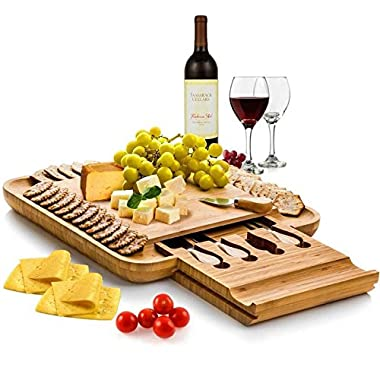 Bamboo Cheese Board with Cutlery Set, Wood Charcuterie Platter and Serving Meat Board with Slide-Out Drawer with 4 Stainless Steel Knife and Server Set – Perfect Gift Idea for Mother's day. By Bambusi