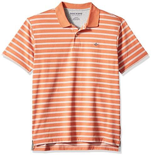 Dockers Men's Short-Sleeve Polo, Peachy Orange, Medium