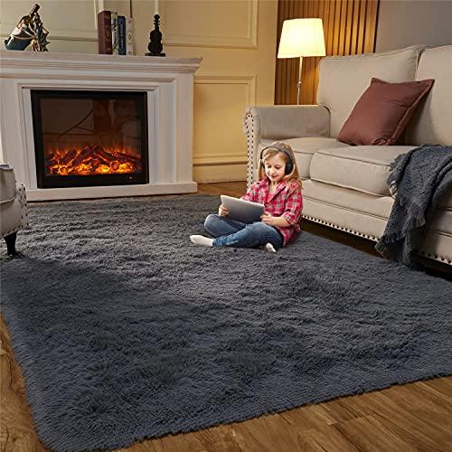 EasyJoy Fluffy Area Rugs for Bedroom Living Room, 5ft x 7ft Dark Gray Furry Carpet for Teens Room, Shaggy Throw Rug for Nursery Room, Fuzzy Plush Rug for Dorm, Cute Room Decor for Girls Boys Room