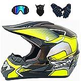 YXLM - Casco de motocross para niños y adultos, incluye guantes, máscara facial, con gogle, casco de moto para niños, motocross, Off-Road, casco de montaña BMX Downhill (B,L)