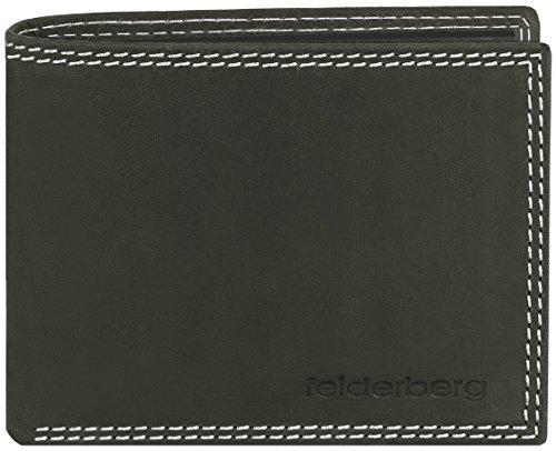 'Jeremy' Vintage Geldbörse aus geöltem Hunterleder mit Doppelnaht, Farbe:Schwarzgrau