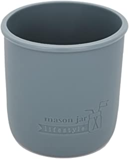 MJL Regular Mouth Pint Silicone Sleeve for Mason Jars (Charcoal Gray, 2 Pack)