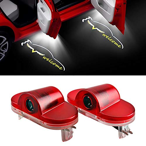 Acptxvh 2ST dekorative Lampe Car Styling für VW Golf 4 MK4 Golf 5 Golf 6 Golf 7 Logo-Licht-Auto-Tür-Licht LED-Auto-Tür-Warnlicht,Schwarz