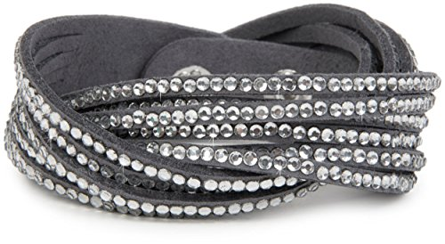 styleBREAKER weiches Strass Armband, eleganter Armschmuck mit Strassteinen, Wickelarmband, 6x1-Reihig, Damen 05040005, Farbe:Dunkelgrau/Klar