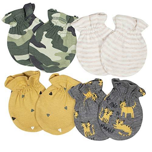 Gerber Baby Boys' 4-Pair Mittens, Tiger/Camo Grey, 0-3 Months