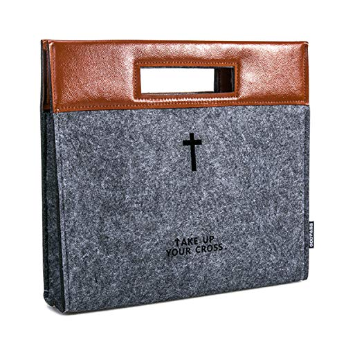 GODPASS Bible Carrying Case, Felt Bible Cover for Men, Church Tote Bag with Zipper, Large Bible Study Case, Briefcase for Men,Business Office case,Christian Gift for Men,Father's Day Gift