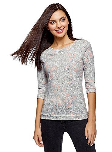 oodji Ultra Damen Bedrucktes Sweatshirt mit 3/4-Ärmeln, Weiß, DE 32 / EU 34 / XXS