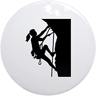 CafePress Climbing Woman Girl Round Holiday Christmas Ornament