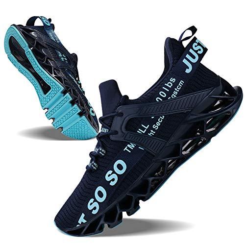 Mens Running Shoes Non Slip Athletic Walking Blade Type Sneakers Dark Blue,US 10