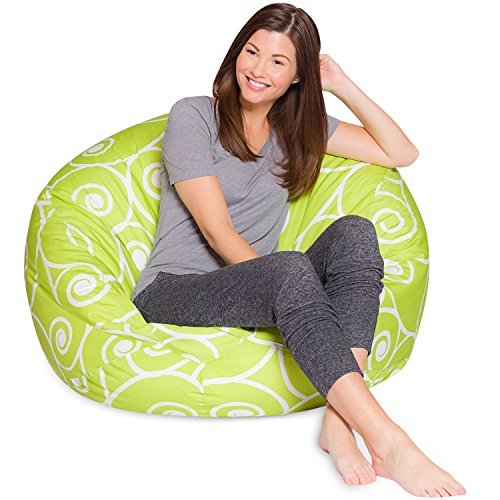 Posh Creations Big Comfy Bean Bag Posh Large Beanbag Chairs with Removable Cover for Kids, Teens and Adults Polyester Cloth Puff Sack Lounger Furniture for All Ages, 48in Extra, Swirls Lime and White