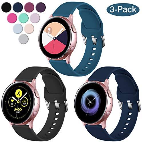 Vobafe 3 Stück Armband Kompatibel mit Samsung Galaxy Watch Active/Active 2 (40mm/44mm), Weiches Silikon Armbänder Ersatzarmband für Gear S2 Classic/Gear Sport, S Schwarz/Schieferblau/Blau Meer