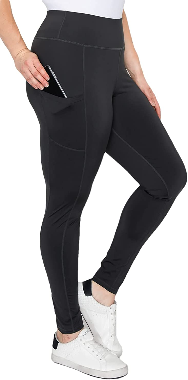YOGALANDUSA Women's Yoga Workout Leggings – Plus Size Non Brushed High Waisted 4 Way Stretch with Side Pocket Active Pants