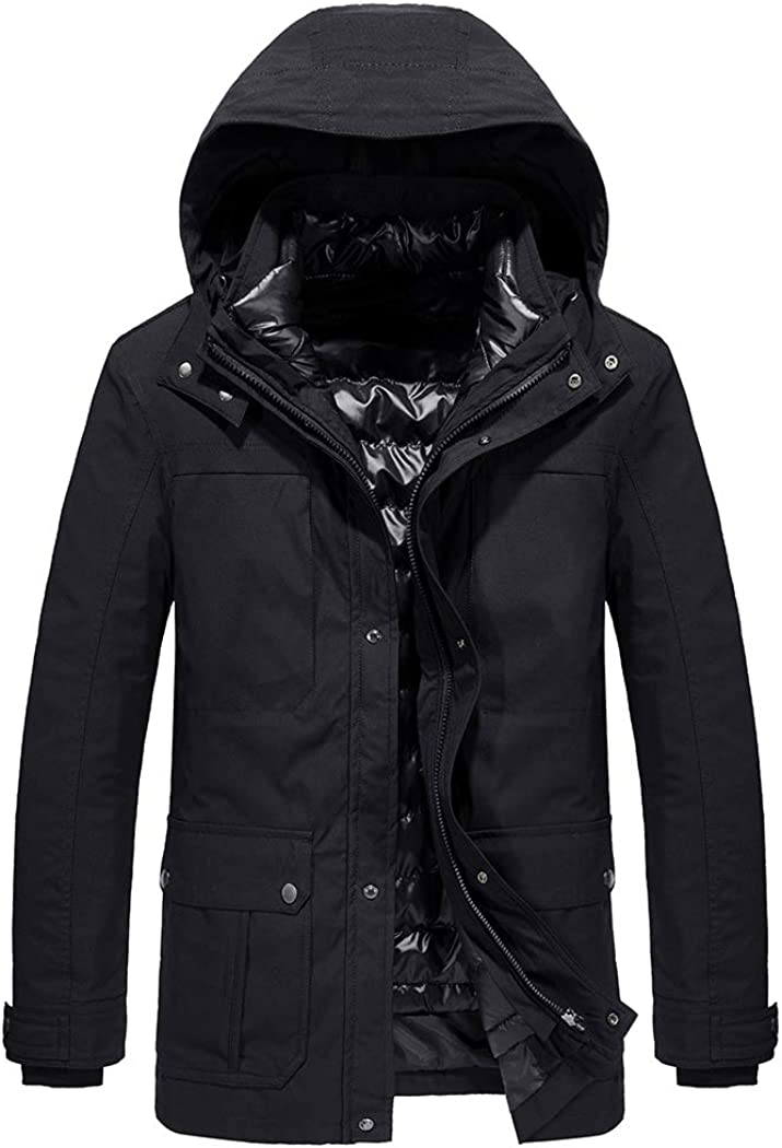 Sun Lorence Men's Winter 3 in 1 Thicken Down Puffer Parka Jacket with Removable Hood