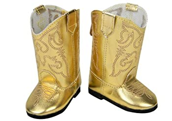 Doll Cowgirl Boots in Gold Doll Shoes Fits 18 Inch Dolls Like 18 Inch American Girl Shiny Gold Cowgirl Doll Boots