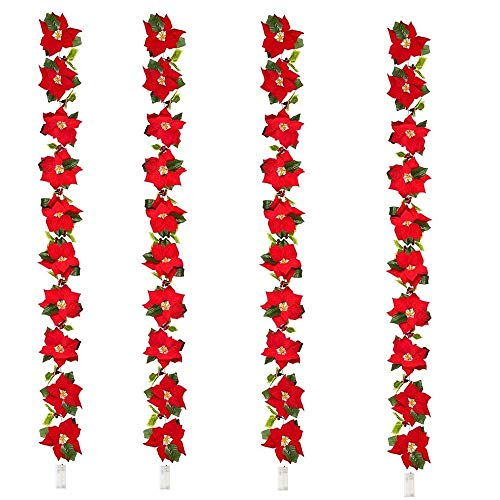 ZSML 4 Pack 6.56ft Lighted Artificial Red Poinsettia Christmas Garland String with Red Berries Maple Leaves Pre-Lit Velvet Fairy Light for Holiday Door Decoration Wreath (Red Poinsettia Wreath, 4