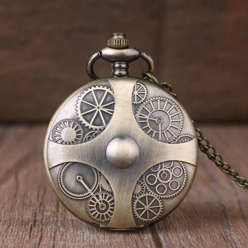 NOBRAND Pocket horloge, Gear Retro Pocket Horloge Mannelijke Dame Clock Stijlvolle Bronzen Pocket Horloge Ketting Digitale Display