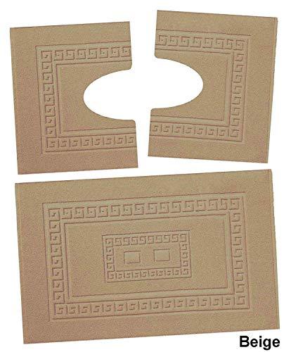 HomeIt - Set Tappeti Bagno 3 Pezzi in Cotone - Elegante Parure tappetini in Spugna: 1 Tappeto 60X90 2 Girowater/Girobidet - Lavabile Lavatrice - Made