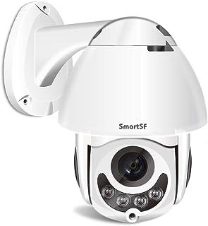 SmartSF PTZ Camara Vigilancia Exterior Wireless WiFi IP cámara Impermeable IP66 con Audio de Dos Vías, Visión Nocturna, De...