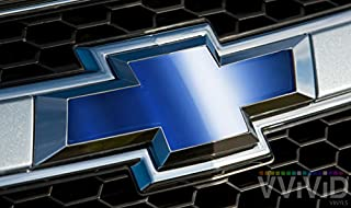 VVIVID Blue Chrome Auto Emblem Vinyl Wrap Overlay Cut-Your-Own Decal For Chevy Bowtie Grill, Rear Logo Diy Easy To Install 11.80 Inches x 4 Inches Sheets (x2)