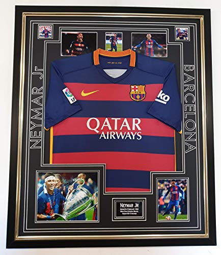 WWW,SIGNEDMEMORABILIASHOP.CO.UK NIEUWE NEYMAR SIGNED Barcelona foto met SHIRT Display