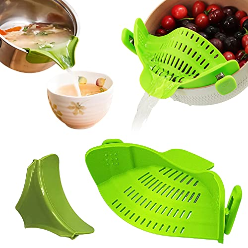SGLXQ Kitchen Gadgets Strainer for Food, Green Silicone Food Strainer Heat Resistant Clip on...