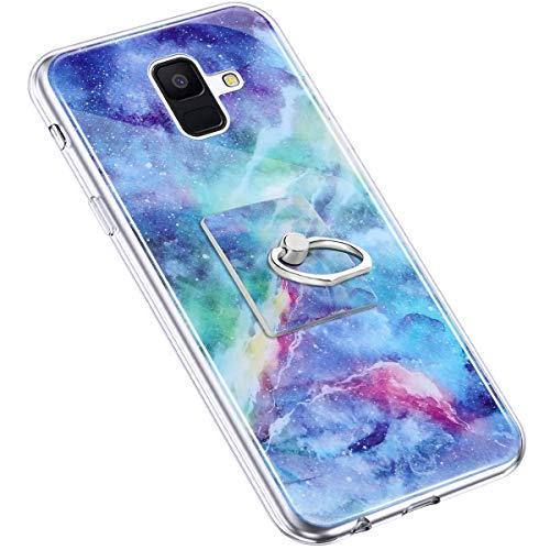 Uposao Kompatibel mit Samsung Galaxy A6 2018 Hülle Marmor Muster TPU Silikon Hülle mit 360 Grad Ring Ständer Ultra Dünn Silikon Matt Marble Muster Case Crystal Clear Silikon Bumper Hülle,Blau