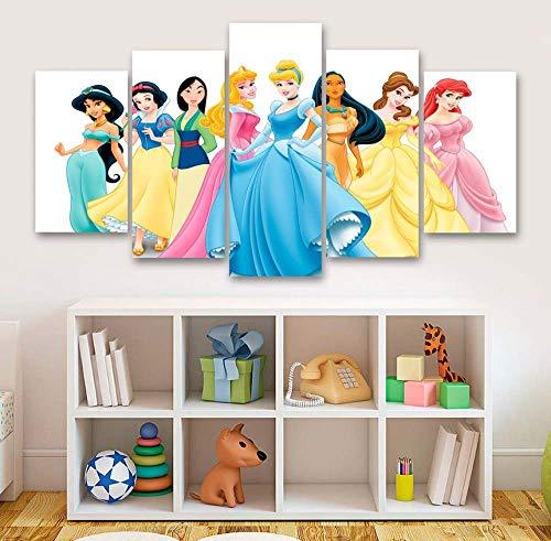 KOPASD Cuadro en Lienzo 200x100 cm 8 Hermosas Chicas de Princesa Impresión de 5 Piezas Material Tejido no Tejido Impresión Artística Imagen Gráfica Decoracion de Pared Ciudad