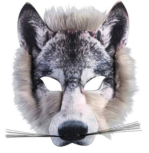 Forum Novelties X78180 Wolfsmaske, realistische Fell-Gesichtsmaske, Unisex-Erwachsene, Grau, Einheitsgröße