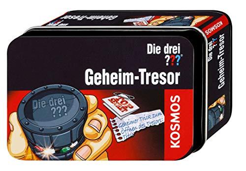 KOSMOS Die drei ??? Geheim-Tresor. Wer schafft es den Mini-Tresor zu knacken? mit geheimen Öffnungsmechanismus zum Knobeln, Detektivspielzeug, Detektiv Ausrüstung, Detektiv Set