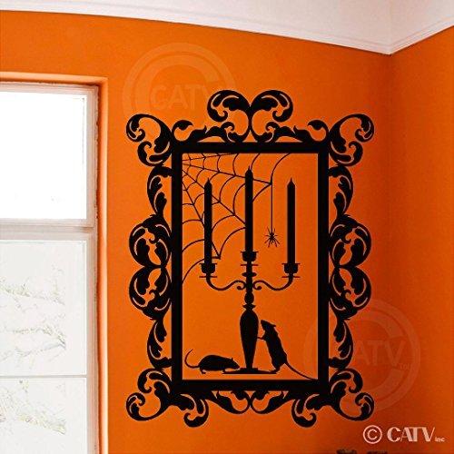 Adhesivo de pared de vinilo para Halloween, diseño de candelabro de araña con texto en inglés