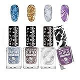 4 x set de esmaltes de uñas CCL Beauty'Gel-Tastic' GLITTER BESTIES de secado rápido con efectos metálicos y brillantes con pincel XL para una fácil aplicación (4 x 12ML) sin lámpara UV