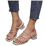 Celucke Sandali da Donna con Tacco Spesso Decorazione di Perle Eleganti Pantofole con Punta Aperta alla Moda Comode Traspirante Scarpe