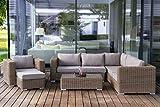 essella Polyrattan Gartenlounge Alabama in Hellbraun aus Rundgeflecht - Premium Gartensitzgruppe für 7 Personen - Ecklounge + Sessel - frei kombinierbar- fertig montiert - wetterfest - Bezüge waschbar