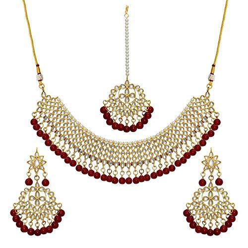Aheli Hochzeitskleidung Kundan Perlen Choker Halskette Set mit Maang Tikka indischen Schmuck für Frauen Mädchen (Kastanienbraun)