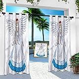 Panel de cortina al aire libre, anime, dibujos animados con alas de ángel, tratamiento de ventana de 132 cm x 274 cm (1 panel)