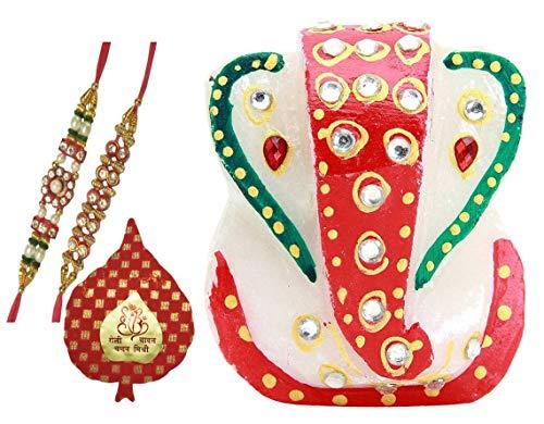 Purpldip Bhai Dooj Rakhi Gift Set: kleine Ganesha marmer standbeeld, 2 ontwerper Rakhis, Roli Chawal in rode Paan verpakking in een stijlvolle geschenkdoos (rakhi68)