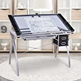 Tangkula Drafting Table Adjustable Home Office Workstation Glass Top Steel Frame Art Craft Station Drawing Desk (Silver 002)