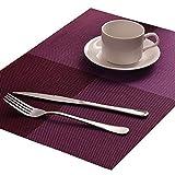Miracle 6er Set Tischset Platzset Platzmatte Hochwertige Baumwolle und Leinen Tischunterlagen Hitzebeständig Lila 45 * 30cm