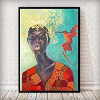北欧スタイルの黒人アフリカの女性の鳥のポスターとプリントスカンジナビアの写真リビングルームの装飾40x60cmフレームなし