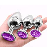 LLKK Juego de 3 piezas de acero inoxidable Stee Ànâles-Plúg de joyería de diamante para el juego de la espalda personal para las mujeres