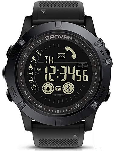 Reloj Deportivo Exterior para Hombre Bluetooth Reloj inteligente Podómetro Contador de Calorías 50M Resistente al Agua Cronómetro Correa de Goma