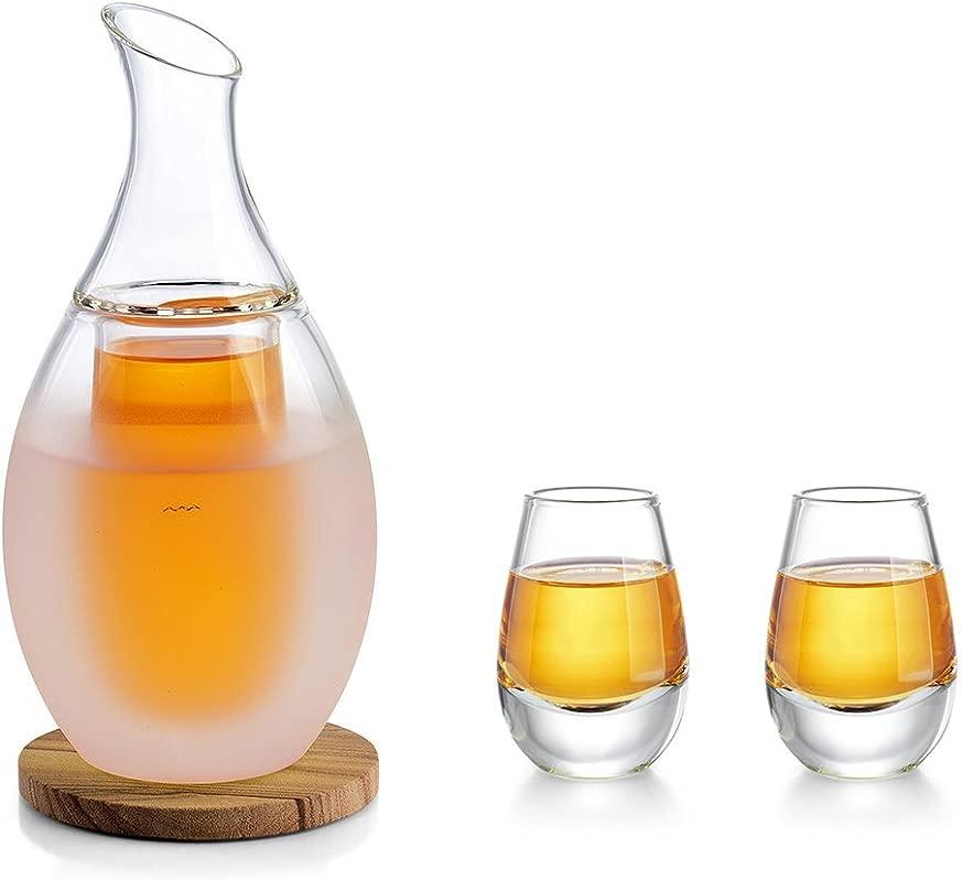 ZENS Sake Warmer Set Sake Glasses Drinking Set With 2 Sake Cups Glass Sake Decanter Gift Set For Cold Or Hot Sake Liquor With Coasters And Towel