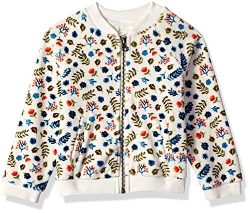 Gymboree Girls' Big Long Sleeve Zip Up Jacket, Ivory Leaf Velour, 3T