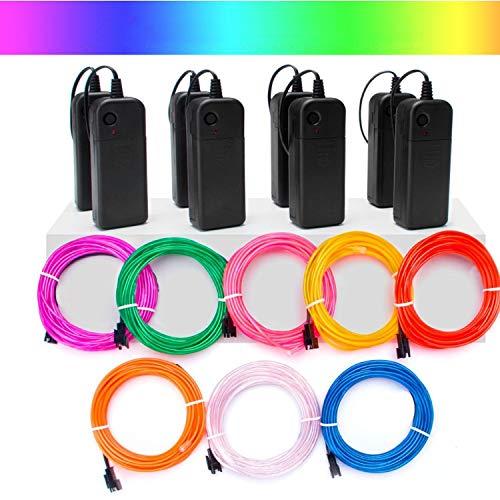 Mioke EL Draht Neon leuchtende 8 colors x 3m Strobing Elektrolumineszenz mit 3 Modus für Halloween Weihnachtsfeier DIY Dekoration