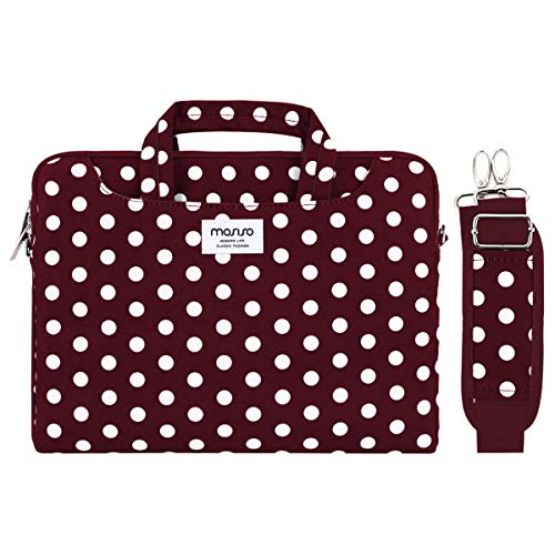 MOSISO Laptop Shoulder Bag Compatible with MacBook Pro 16 inch A2141, Compatible with MacBook Pro Retina, Notebook Canvas Pattern Briefcase Sleeve with Back Trolley Belt,Wine Red Base White Dots