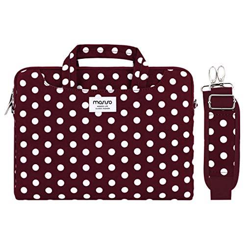 MOSISO Funda Protectora Compatible con 13-13.3 Pulgadas MacBook Air/MacBook Pro Retina/Surface Laptop/Book, Bolsa de Hombro Patrón Maletín Bandolera con Cinturón de Carro, Base Vino Rojo Punto