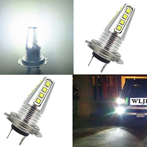 WLJH H7 LED ampoule de brouillard DRL 80W 1000 Lumens Cree Chips ampoules LED pour le jour de l'auto en cours d'exécution feux DRL, lot de 2