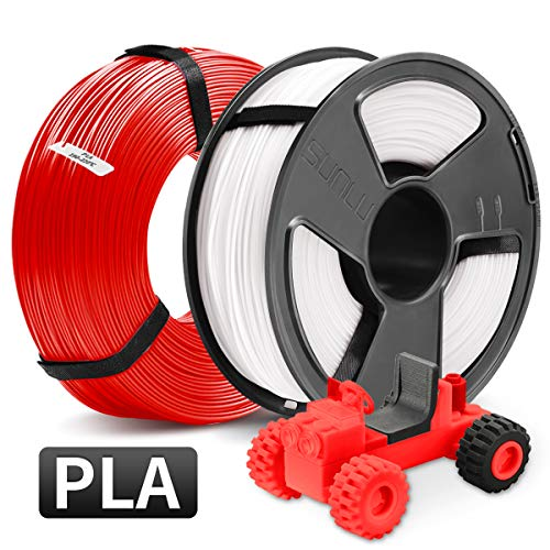 PLA Impresora 3D Filament, SUNLU PLA Filament 1.75mm, PLA MasterSpool Filament 2KG PLA White+Red, 1KG Spool