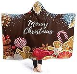 Merry Christmas Cute Design Hooded Blanket 50'x40' Luxury Velvet Wrap Blanket Super Soft Cozy Warm Nap Blanket Throw Poncho for Living Room Dorm